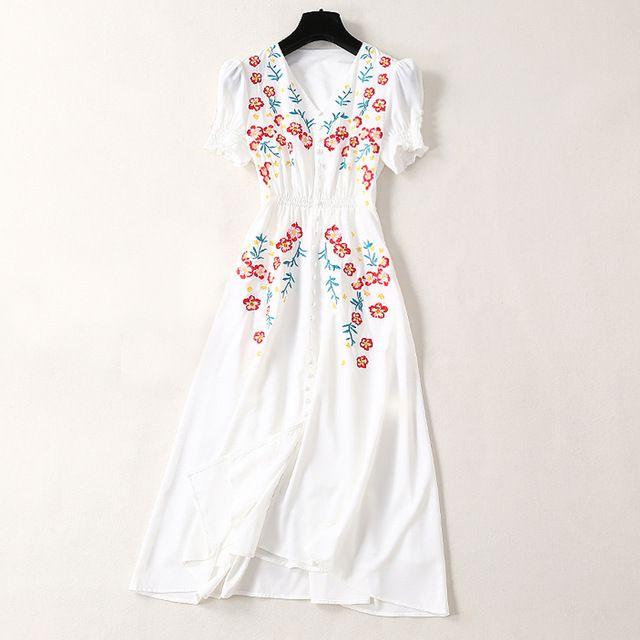 Elegant Women White Dress 2019 Fashion New Luxury Summer Design Flower Embroidery V-Neck Mid-Calf Long Dress Vestidos