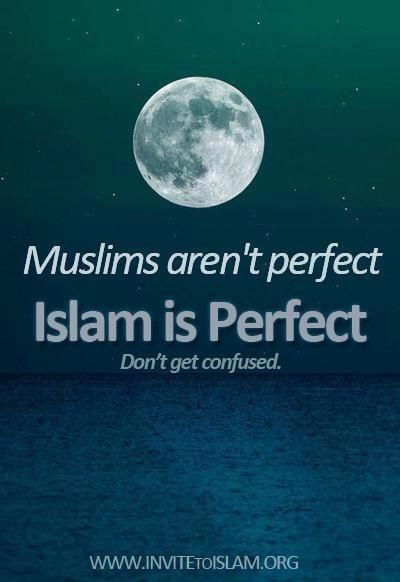 Non perfect muslim doesn`t imply that islam is non perfect too.            'Don`t Get CONFUSED'