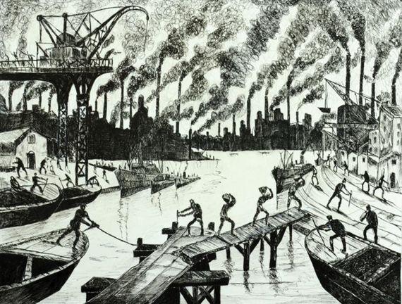 Workers in the port - Benito Quinquela Martin