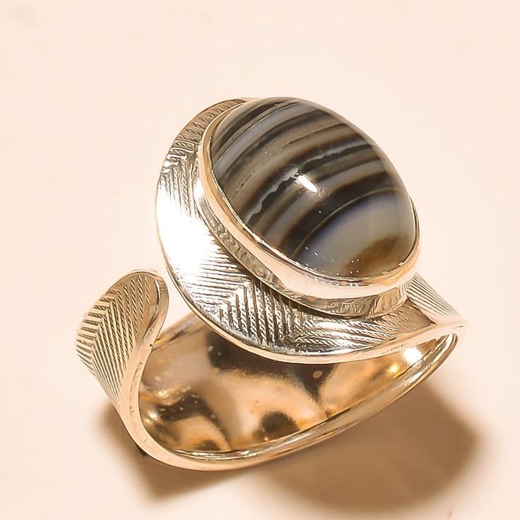 92.5% SOLID STERLING SILVER DAZZLING BOTSWANA AGATE RING (Adjustable)  #Handmade