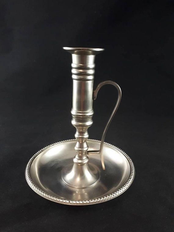 Vintage Pewter Candle Holder Pewter Candlestick With Handle Candlestick Holder Chamberstick Vintage Candle Holders Candle Holders Pewter Candlesticks