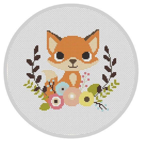 Fox Nursery Baby Cross Stitch Pattern Modern Cross by Xrestyk