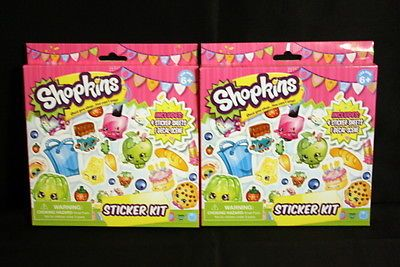 Shopkins-Sticker-Kit-New-Unopened-100-Stickers-Lot-of-2-Packs
