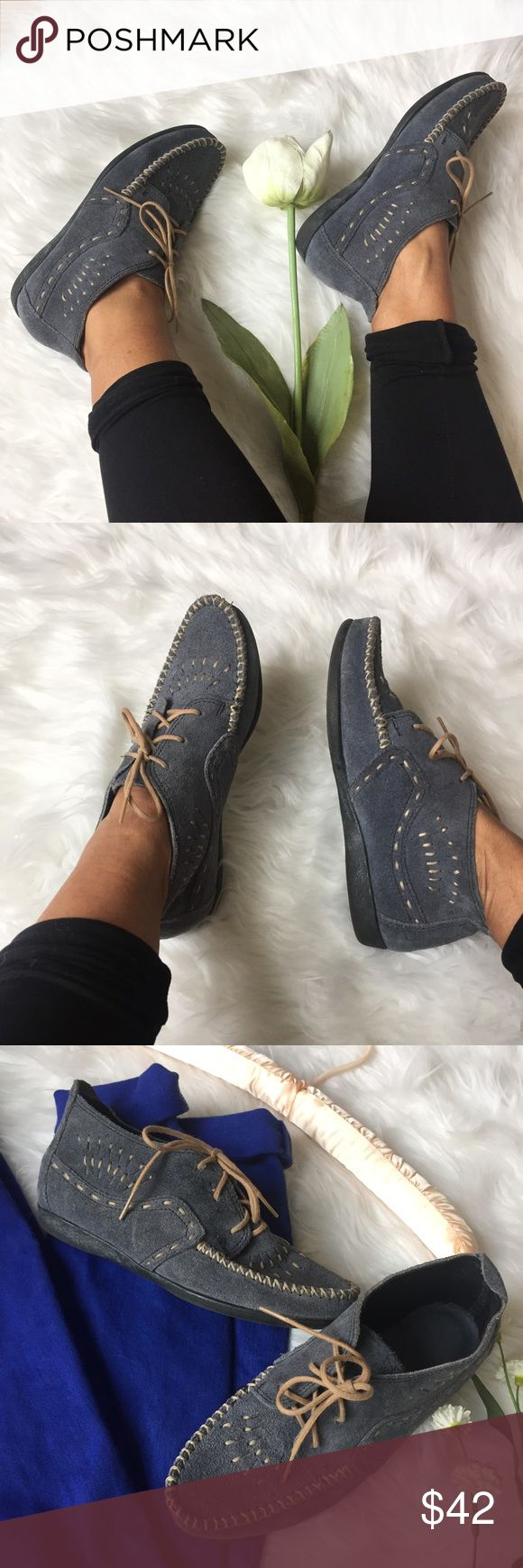 Minnetonka • Chukka Ankle Boots A perfect pair of low ankle boots by Minnetonka. Moccasin feel. Sturdy rubber sole and blue suede leather. Beautiful intricate stitched design. Size 5.5 Minnetonka Shoes Ankle Boots & Booties