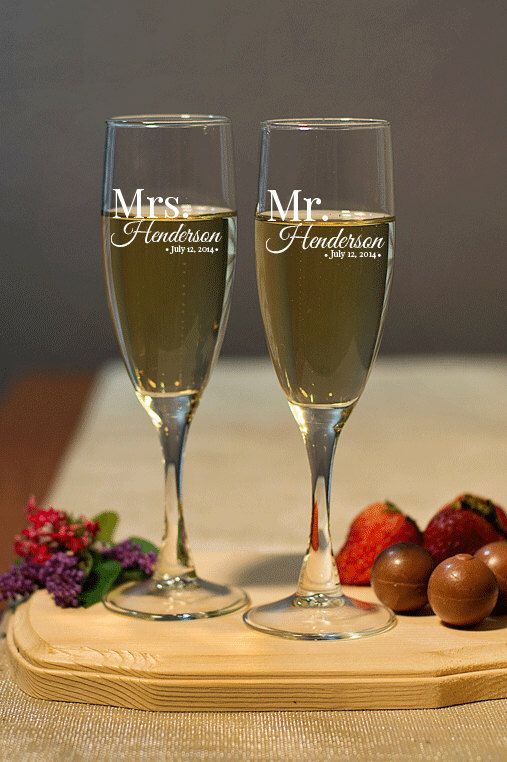Wedding Champagne Flutes - Mr & Mrs Set - Personalized Champagne Flutes, Wedding Toasting Flutes, Personalized Champagne Glasses Engraved by AllFavorShop on Etsy https://www.etsy.com/listing/207401397/wedding-champagne-flutes-mr-mrs-set