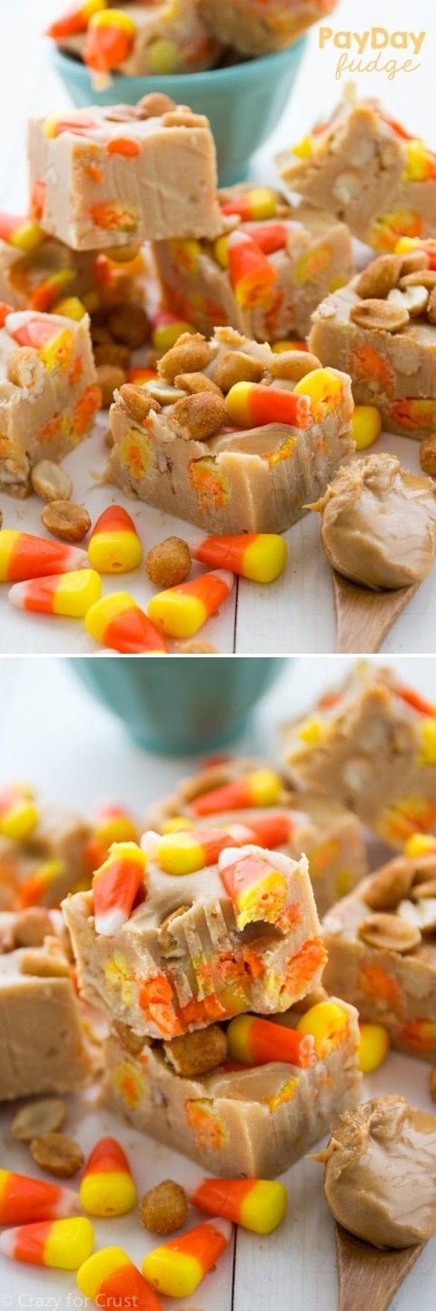 PayDay Fudge: peanut butter fudge with candy corn and peanuts!!