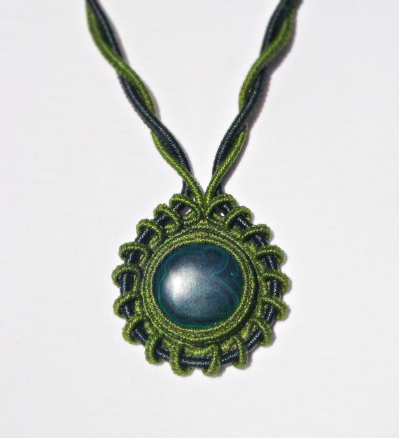 Adjustable Macrame Necklace with Malachite by MamaKrameJewelry
