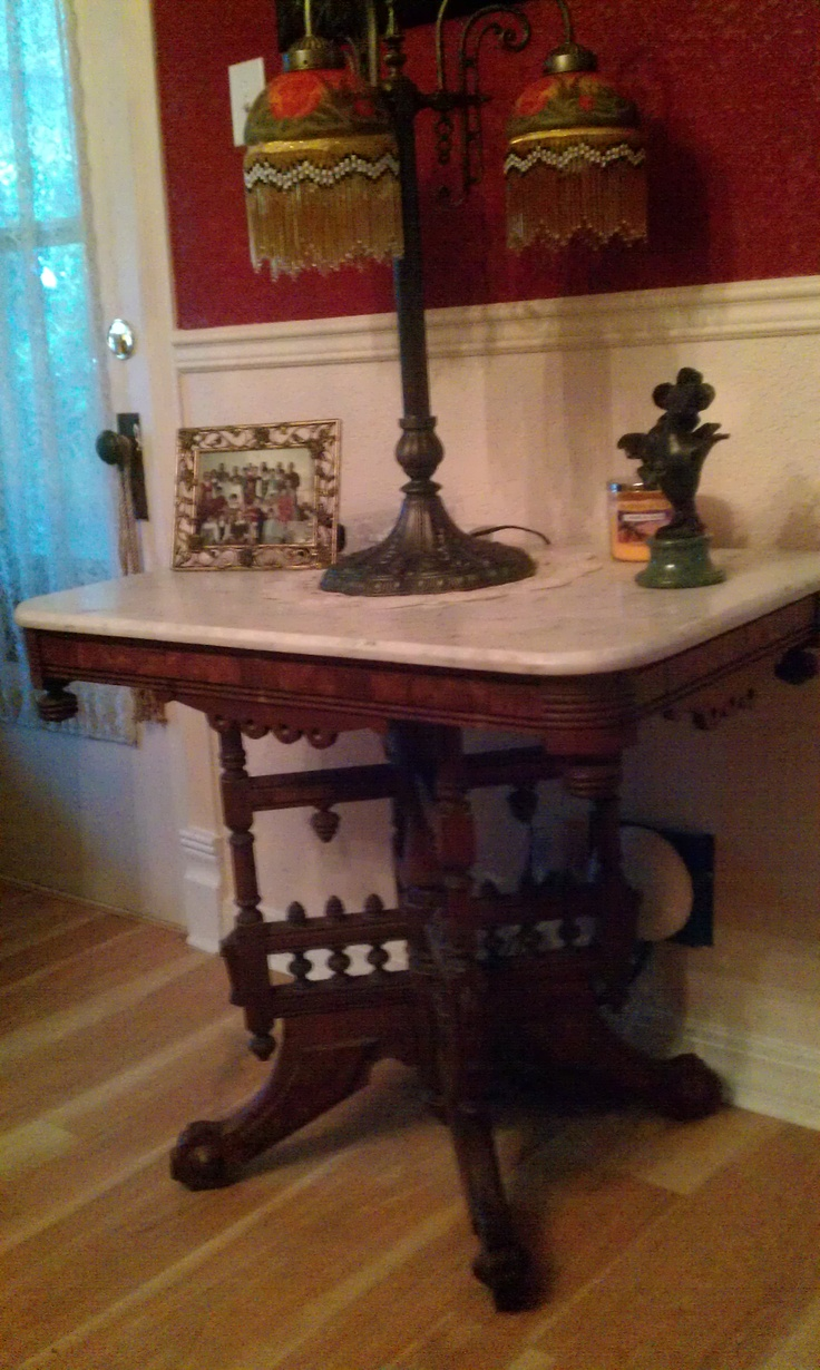 Victorian carved rosewood center table w marble turtle top cottone - Victorian Marble Top Table