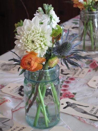 Blue Mason Jar For Vermont Wedding