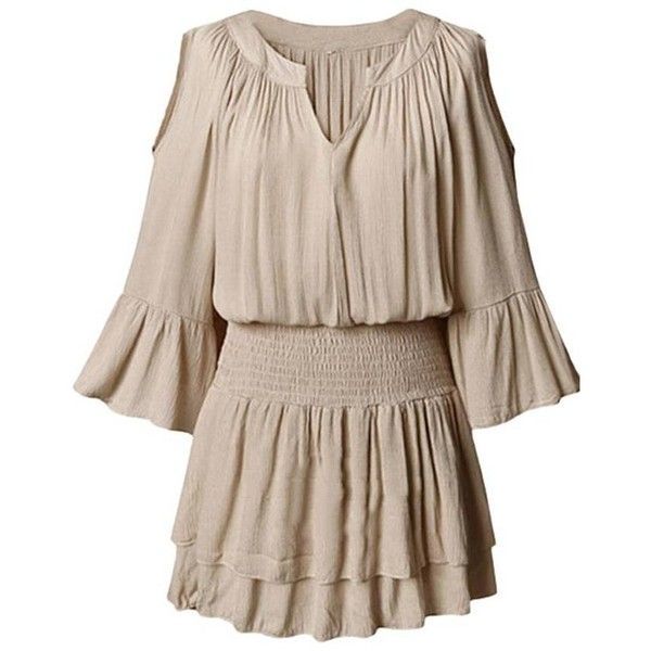 Sexy Women Elastic Waist Solid V Neck Half Sleeve Pleated Dress (£9.70) ❤ liked on Polyvore featuring dresses, ruffle sleeve dress, elbow sleeve dress, v-neck dresses, brown dress y sexy brown dress
