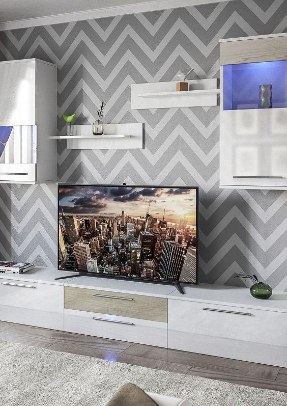 Белая стенка для гостиной с стиле модерн с тумбой для ТВ