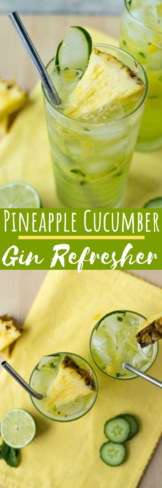 Cucumber Pineapple Gin Refresher #drinks #cocktails