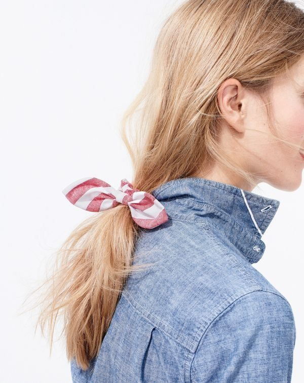 J.Crew women's selvedge chambray shirt and striped bow hair tie.