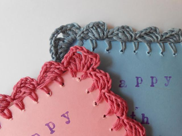 how to combining crochet and cardstock