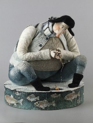 'January. Fisherman' ~ by Russian artist Olga Egupets (Ольгa Егупец)