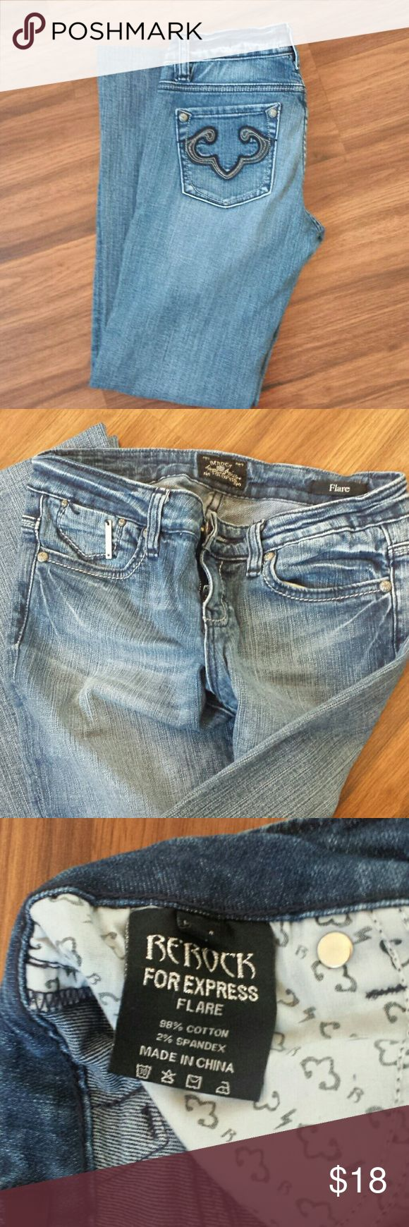 Rerock for Express flared leg jean. EUC 32 in length  Has some spandex see label Size 4 Excellent condition Express Jeans Flare & Wide Leg