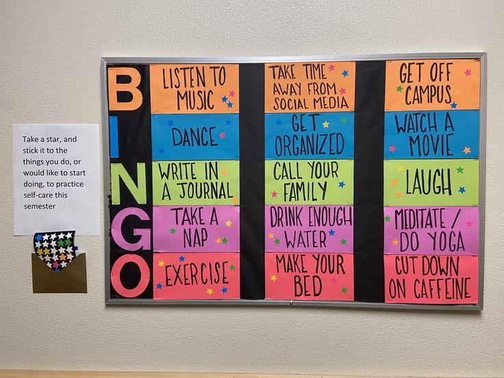 Self Care Bingo Bulletin Board in 2020 Character