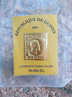 Francobollo commemorativo Primo Francobollo del Regno D'Italia. Laminato Oro