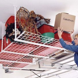 More for charlie to make..... Overhead Storage Organizer  screwed under the ceiling; maybe not for the house but for the garage or a storage shed -great idea