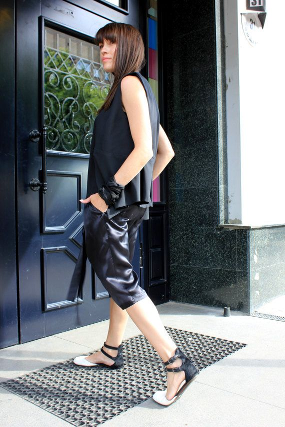 Loose Silk Pants / Black Casual Trousers / Extravagant by Rohas