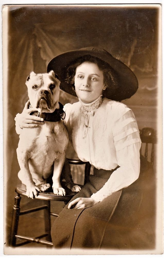 Young Woman hugging Pitbull Dog ? Bulldog, vintage c1910 private photo RPPC. Pinned by Judi Crowe.