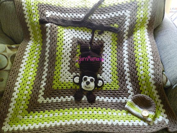 monkey nursery theme, swinging monkey, newborn safari, safari theme, sock monkey nursery, sock monkey decor, sock monkey blanket, monkey, monkey blanket, newborn blanket, handmade, YarnMama84, newborn monkey. Don't forget to repin so you know where to find this again!
