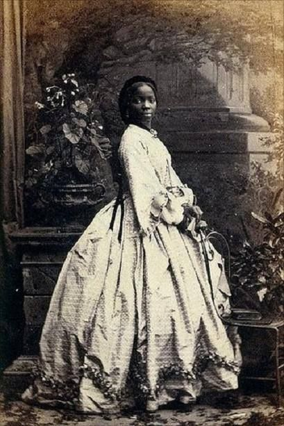 """Meet one of Queen Victoria's goddaughters: Lady Sara Forbes Bonetta (Born 1843, died 1880, 37 years old) was a West African Egbado Omoba who was orphaned in inter-tribal warfare and subsequently captured by slave-raiders. Intended by her Dahomeyan captors to be a human sacrifice, she was rescued by Captain Frederick E. Forbes of the Royal Navy, who convinced King Ghezo of Dahomey to give her to Queen Victoria, """"She would be a present from the King of the Blacks to the Queen of the Whites,""""…"""