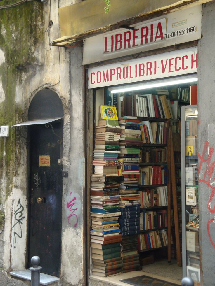 Book shop in Naples, Italy Naples is one of the settings in my novel THE STOLEN CHALICE - Kitty Pilgrim