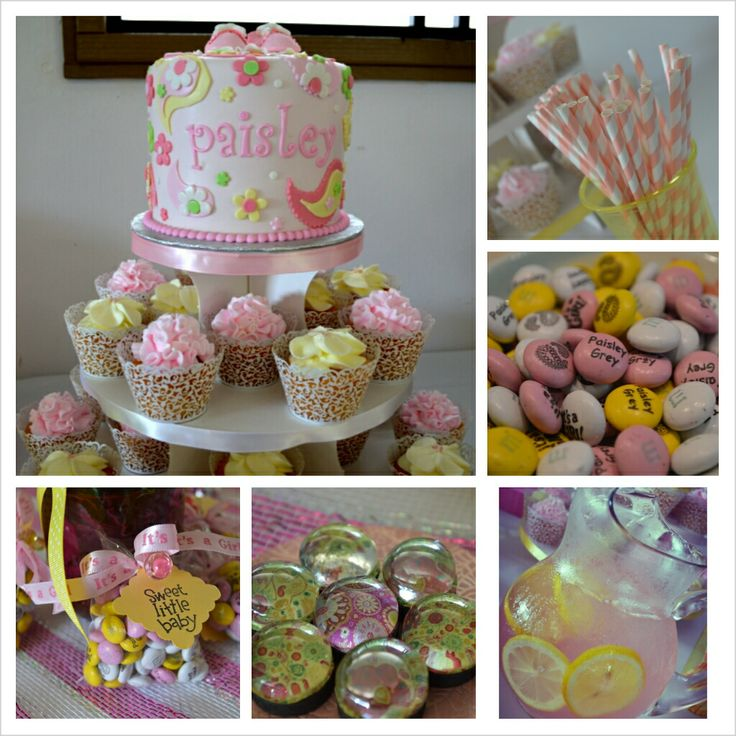 Pink and yellow paisley baby shower! 1) Pink and yellow paisley cake ...