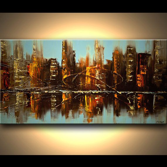 """Original Abstract Painting Urban City Textured Art on Canvas Cityscape Skyscrapers by OSNAT 48""""x24"""" on Etsy, $450.00"""