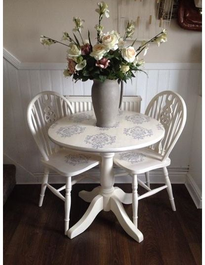 LOVE these colors- French style and elegance, this round table and two chairs have been artfully refurbished to create a wonderful homage to the indoor bistro set. The style evokes musings of leisurley mornings taking breakfast and coffee as a couple, lo