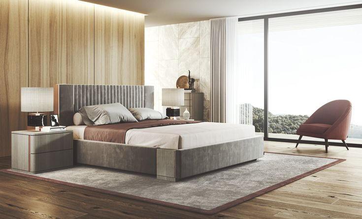 Laskasas | Decorate Life | www.laskasas.com | Bedroom Decor | This upholstered bed is the perfect reference from which the rest of the décor can be based. The occasional brownish tones give this bedroom the warmth it needs, along with some gold and black decorations that add a luxurious touch to this space.