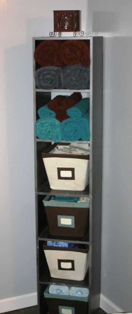Bathroom Tower - Grays, turquoise, white, brown. Beautiful!!