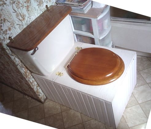 This composting toilet idea is great!  The tank on the back contains sawdust which is used to cover the waste in the bucket.  Amazingly, these toilets are odor-free if the waste is covered properly.