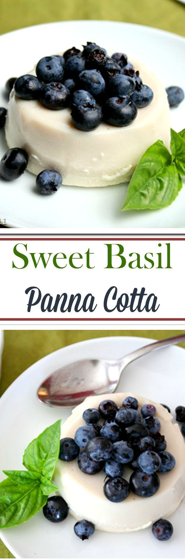 Sweet Basil Panna Cotta - Sweet, so smooth, and incredibly delicious Sweet Basil Panna Cotta! I LOVE this dessert!