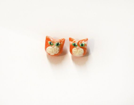 Orecchini con gatto rosso e arancione in porcellana a perno anallergico ideale per orecchie sensibili regalo per donna ragazza bambina