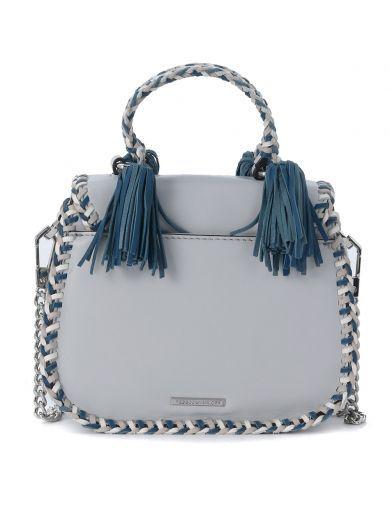 REBECCA MINKOFF Borsetta A Mano Rebecca Minkoff Chase In Pelle Bianca E Blu. #rebeccaminkoff #bags # #