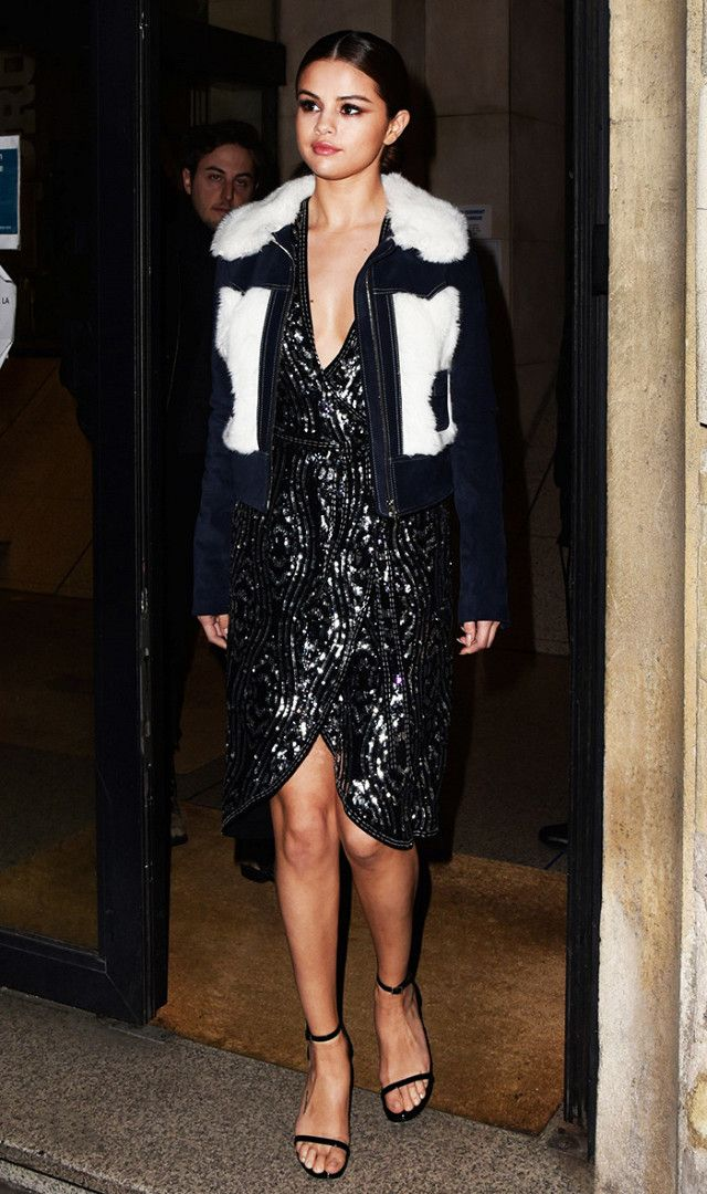 Selena Gomez Looking Amazing In A Party Dress And Shearling Jacket