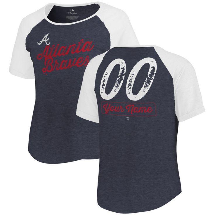 Atlanta Braves Fanatics Branded Women's Personalized Sideline Tri-Blend T-Shirt - Navy