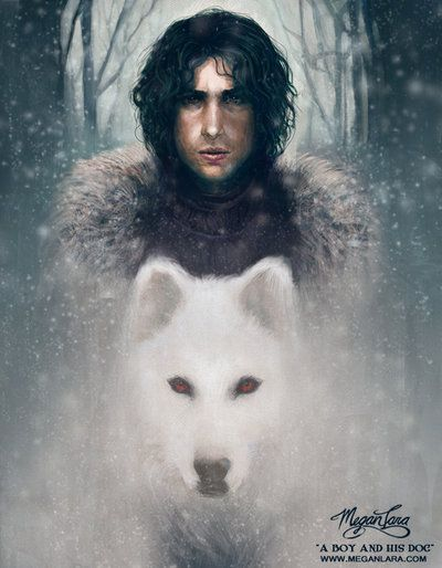A Boy and His Dog by MeganLara.deviantart.com on @deviantART Jon Snow <3 booksandthelike.blogspot.com