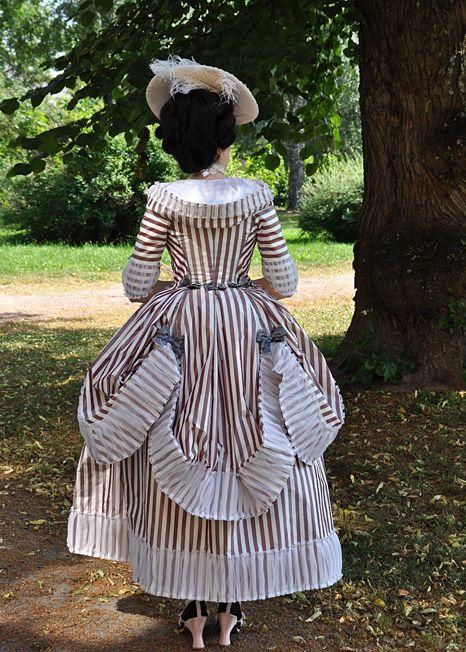 Before the Automobile: Costume College dress rehearsal part I, 1770's robe à la Polonaise à coqueluchon