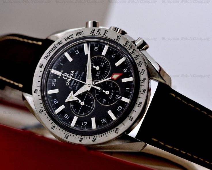Omega 3881.50.37 Speedmaster Broad Arrow GMT, 38815037, Stainless Steel on a Brown Leather Strap with a Deployant Buckle, Automatic Co Axial Caliber 3603, 55 Hour Power Reserve, COSC, Black Dial with Silver Applied Hour Markers and Luminous Hands, Date at 6 O'clock, 12 Hour Chronograph, Red Arrow Indicates Second Time Zone, Small Seconds at 9 O'clock, Sapphire Crystal, Display Back, Water Resistant, Diameter: 44 mm, Thickness: 15 mm