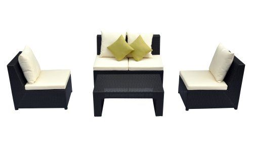 Prime Source 4-Piece Wicker/Aluminum Frame Armless Lounge Set with Green Throw Pillows Opulence collection is our elegant line of wicker outdoor furniture that was designed to be an extension of your home. This set has All-Welded aluminum frames that are meant to withstand years of heavy use and will never rust or corrode. All-weather synthetic wicker weave is designed especially for constant and ... #Primesource #Lawn_&_Patio