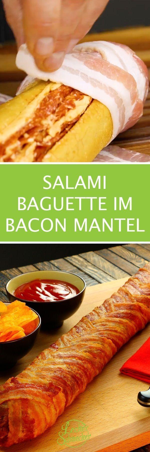 Salami Baguette im Speckmantel – ideal für viele Gäste oder die Party. A Tra ….