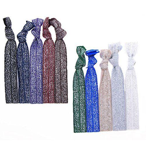 "No Crease Hair Ties Elastics Hair Accessories Sparkles Glitters - 10 Pack ""Dark Mix"" BR http://www.amazon.com/dp/B013OUC14A/ref=cm_sw_r_pi_dp_XQl5wb0HPTSE1"
