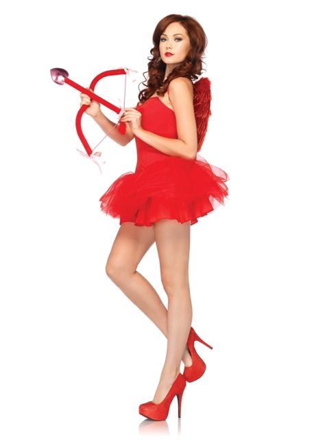 Valentine's day sexy cupid costume kit men's or women's wings tutu sash os new