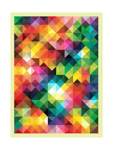 Colorful Triangles Modern Abstract Mosaic Design PatternBy Melindula