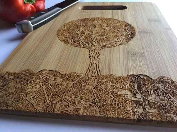 SteamPunk Tree, Laser Engraved Bamboo Cutting Board, Tree Of Life, Gift, Birthday, Housewarming, Gift for Chef, Gift for Her, Him