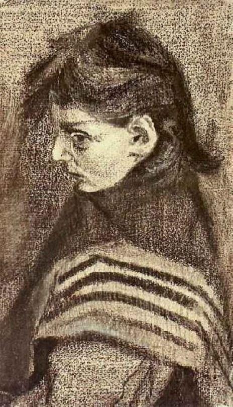 Girl with Shawl, Half-Figure, 1883, Vincent van Gogh  Medium: pencil, wash, chalk on paper