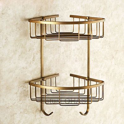Antique-Brass-Double-Tier-Bathroom-Corner-Holder-Dual-Hook-Cosmetic-Basket-15054